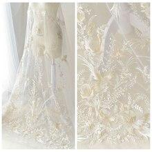 Новые вышитые кружева свадебное платье платье ручной DIY ткань костюмы ткань шифон блесток жаккард оптом