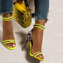 Buty damskie buty na wysokim obcasie damskie wzór wężowy damskie czółenka damskie sandały na obcasie sandały damskie klamra klasyczne czółenka damskie szpilki tanie tanio LAKESHI Gladiator Cienkie obcasy CN (pochodzenie) Super Wysokiej (8cm-up) Pasuje prawda na wymiar weź swój normalny rozmiar