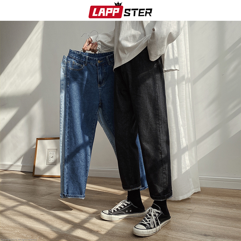 LAPPSTER Men Spring Black Korean Black Jeans 2020 Mens Streetwear Blue Denim Pants Male Fashions Skinny Clothes Plus Size
