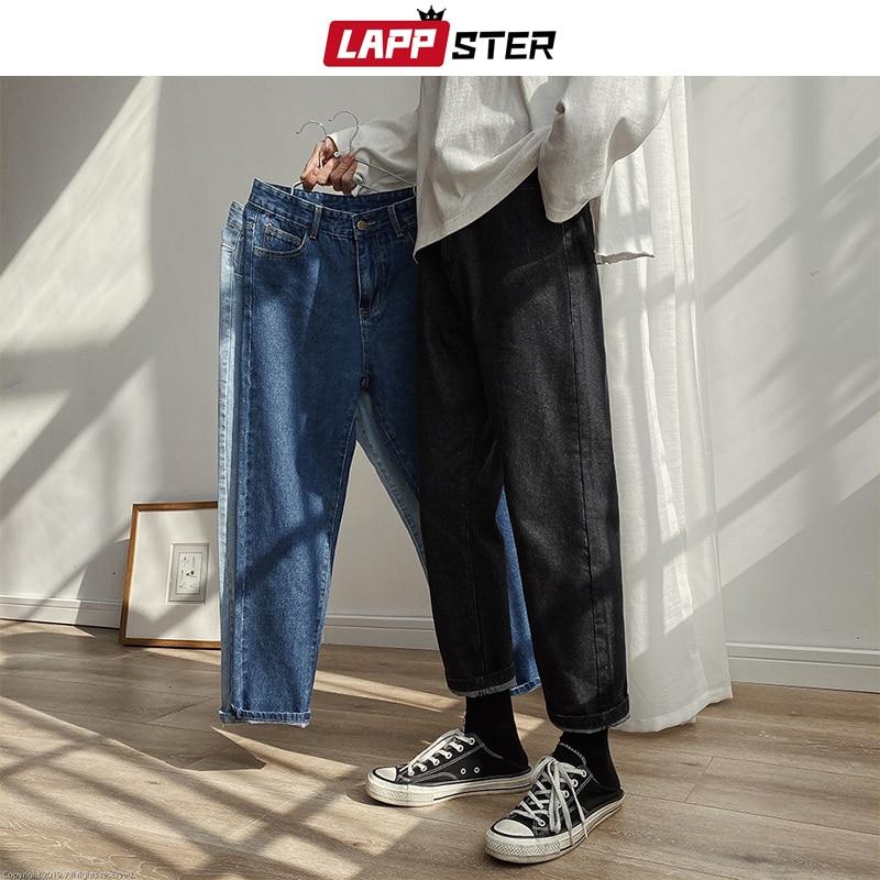 LAPPSTER Men Spring Black Korean Black Jeans 2020 Mens Streetwear Blue Denim Pants Male Fashions Skinny Clothes Plus Size