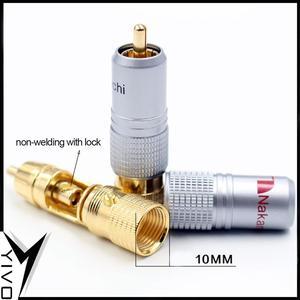 Image 5 - 8 pçs yivo xssh hi end alta fidelidade diy latão 62% chapeamento de cobre 24k ouro macho áudio vídeo rca plug conector plugues jack