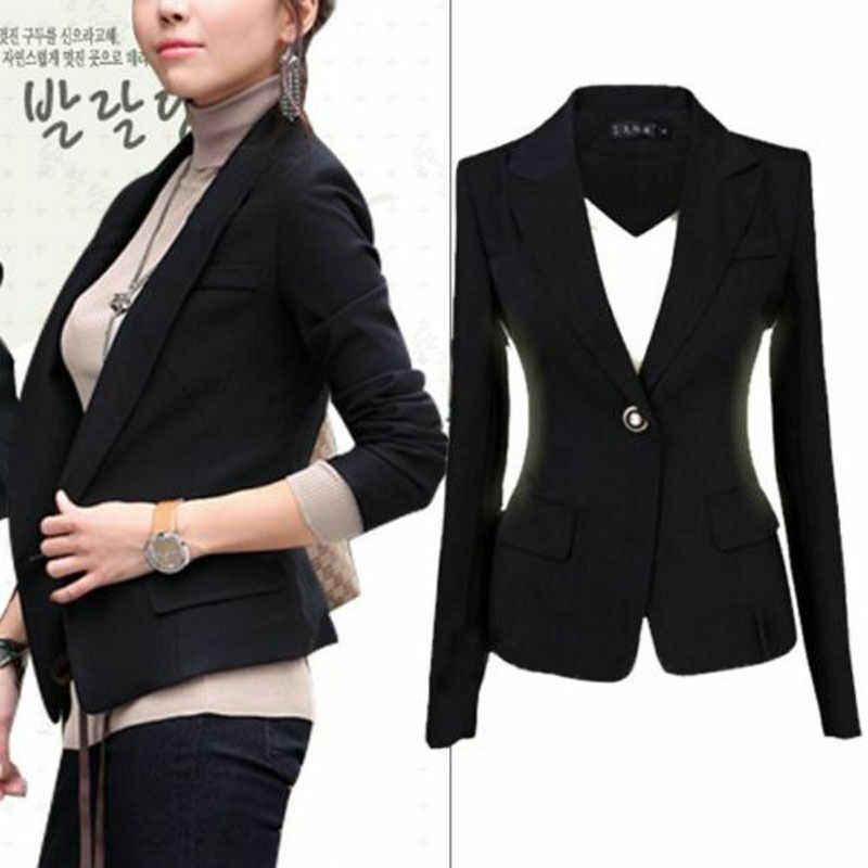 Talla grande estilo caliente mujeres Formal de un solo botón Delgado traje de señora Casual de manga larga negro chaqueta de abrigo