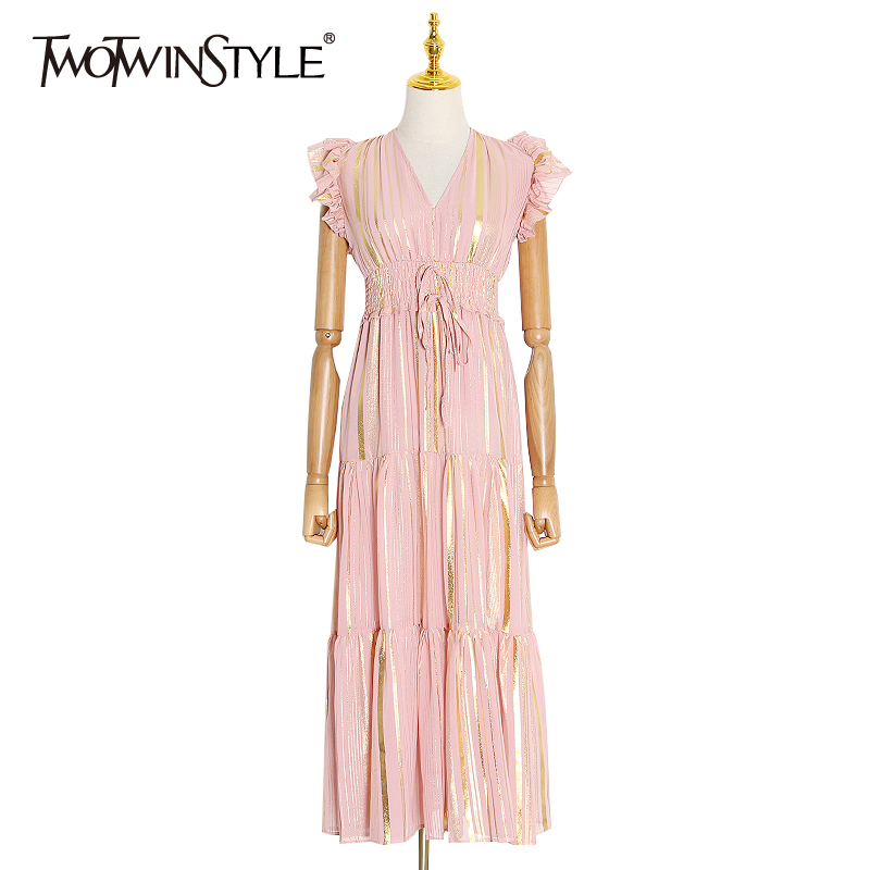 TWOTWINSTYLE Hit Color Ruffle Women's Dress V Neck Sleeveless High Waist Lace Up Bowknot Dresses Female 2020 Spring Fashion New