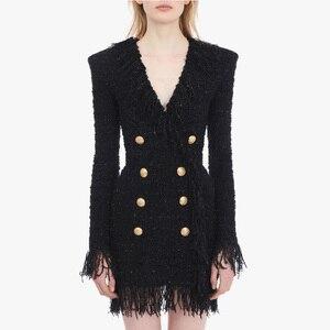 Image 1 - ハイストリート 2020 スタイリッシュなデザイナードレス女性の V ネックダブルブレストライオンボタン房ツイードドレス