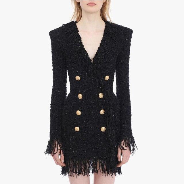 ハイストリート 2020 スタイリッシュなデザイナードレス女性の V ネックダブルブレストライオンボタン房ツイードドレス