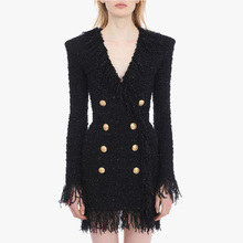 HIGH STREET 2020 Stylish Designer Dress Womens V neck Double Breasted Lion Buttons Fringed Tassel Tweed Dress