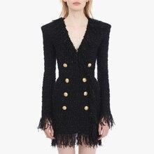 Yüksek sokak 2020 şık tasarımcı elbise kadın v yaka kruvaze aslan düğmeler saçaklı püskül tüvit elbise