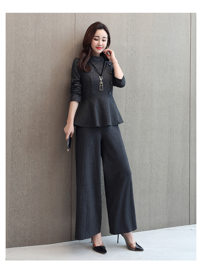 Black Grey Office Two Piece Sets Outfits Women Plus Size Buttons Tops And Wide Leg Pants Suits Elegant Fashion Ladies Suits 2019 45