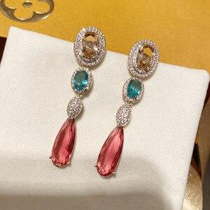 Image 2 - אופנה ארוך אדום cz drop עגיל לנשים