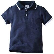 Однотонная темно-синяя рубашка-поло с короткими рукавами и отворотами для маленьких мальчиков, летняя детская футболка, хлопковые футболки с бусинами для 0-8 лет
