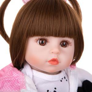 Image 3 - Venda por atacado 18 keimenmensilicone recém nascido menina reborn bebê boneca bonito panda dos desenhos animados bebê presentes do dia das crianças com 3 pcs grampo de cabelo