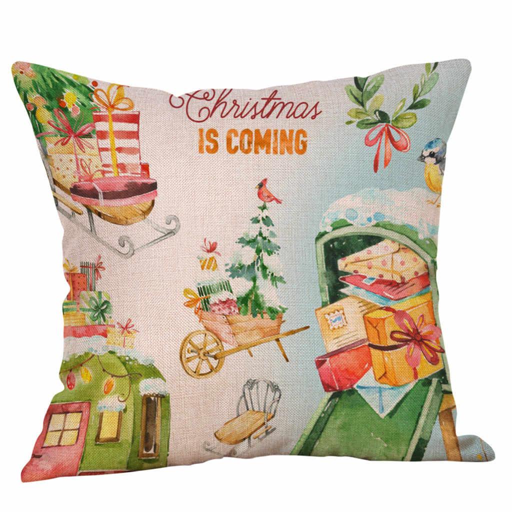 Счастливого Рождества Подушка «ПИЧ-скин» чехлы из хлопка и льна для диванных подушек, наволочки для подушек, домашний декор квадратный размером 45*45 см Высокое качество print technology XJ