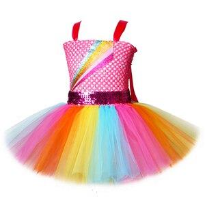 Image 2 - Jojo Siwa Tutu Dress with Hair Bow Rainbow Girls Princess Dress Tulle Kids Tutu Dresses for Girls Holiday Birthday Party Costume