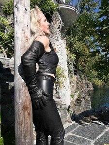 Image 3 - Gants en cuir de mouton véritable pour dames, très longues, sur lépaule, noir