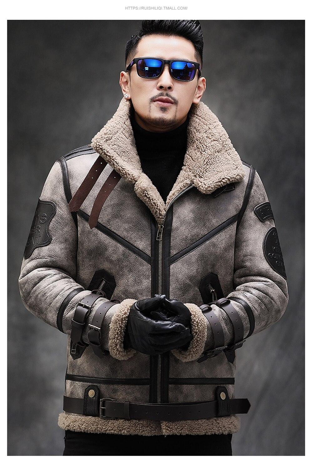 Hcc554aa5555d4f909a48350d5fcc0c7dR 2019 Fashion 100% Quality Real Sheepskin Fur Men Coat Genuine Full Pelt Sheep Shearling Male Winter Jacket Brown Men Fur Outwear