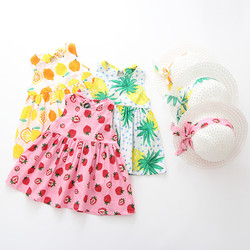 Criança do bebê crianças meninas verão fruta princesa vestidos chapéu roupas casuais definir transporte da gota