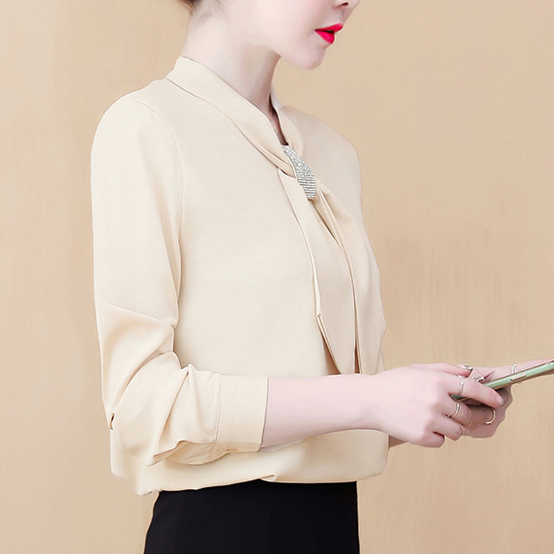 Womens Tops And Blouses 2021 Ladies Tops Chiffon Blouse Bow Solid Blusas Femininas Shirts For Women Tops Plus Size Black 8053 50 5