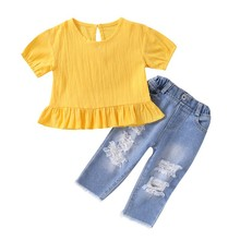 2020 Baby Girls Set Toddler Kids Baby Girls Clothes Spring Summer Blouse Tops+Ripped Jeans Denim Pants Outfits Set 0-5T