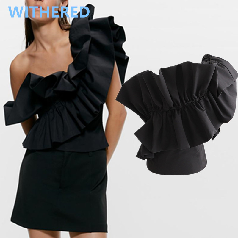 Withered England High Street Vintage One Shoulder Cascading Asymmetry Sexy Blouse Women Blusas Mujer De Moda 2020 Short Shirt