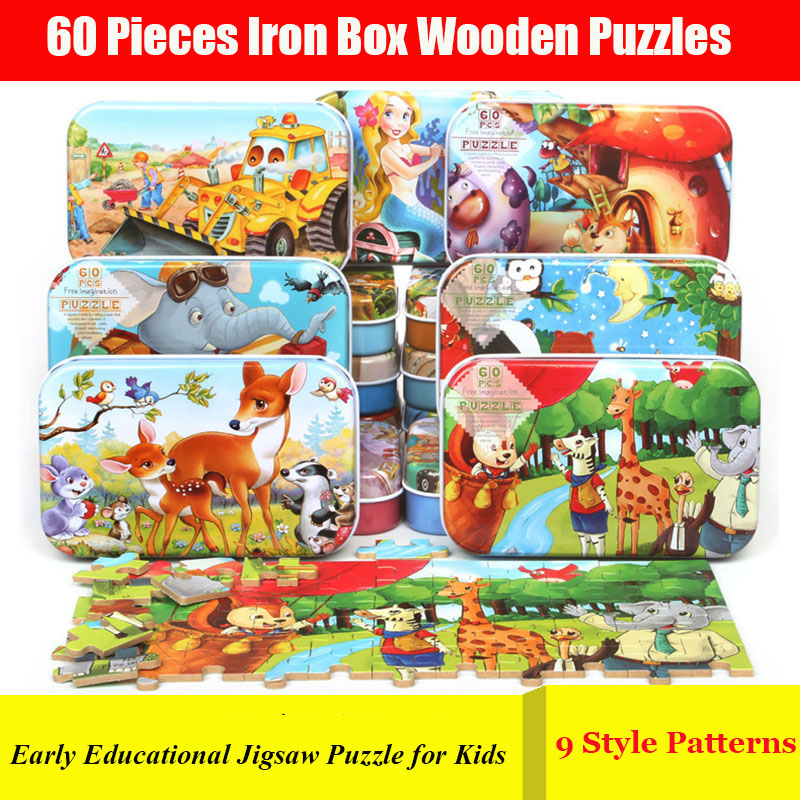 9/60pcs Baby Wooden Puzzle 9 Style 3D Cartoon Children Puzzles 2-10 Year Baby Early Educational Jigsaw Puzzle Toys For Kids Gift