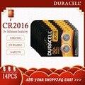 14 шт., оригинальный аккумулятор для батареек DURACELL CR2016, 3 в, литиевые батареи для часов, игрушек, компьютера, калькулятор, управление DLCR 2016