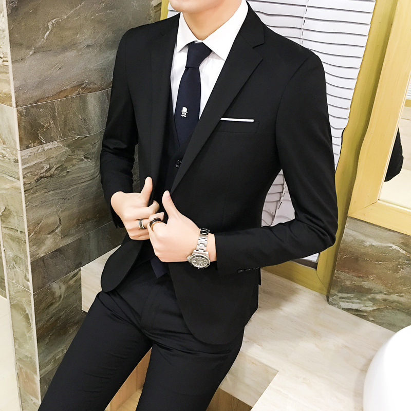 Spring Men England Slim Black Business Business Formal Wear Suit Set Casual Groom Suit