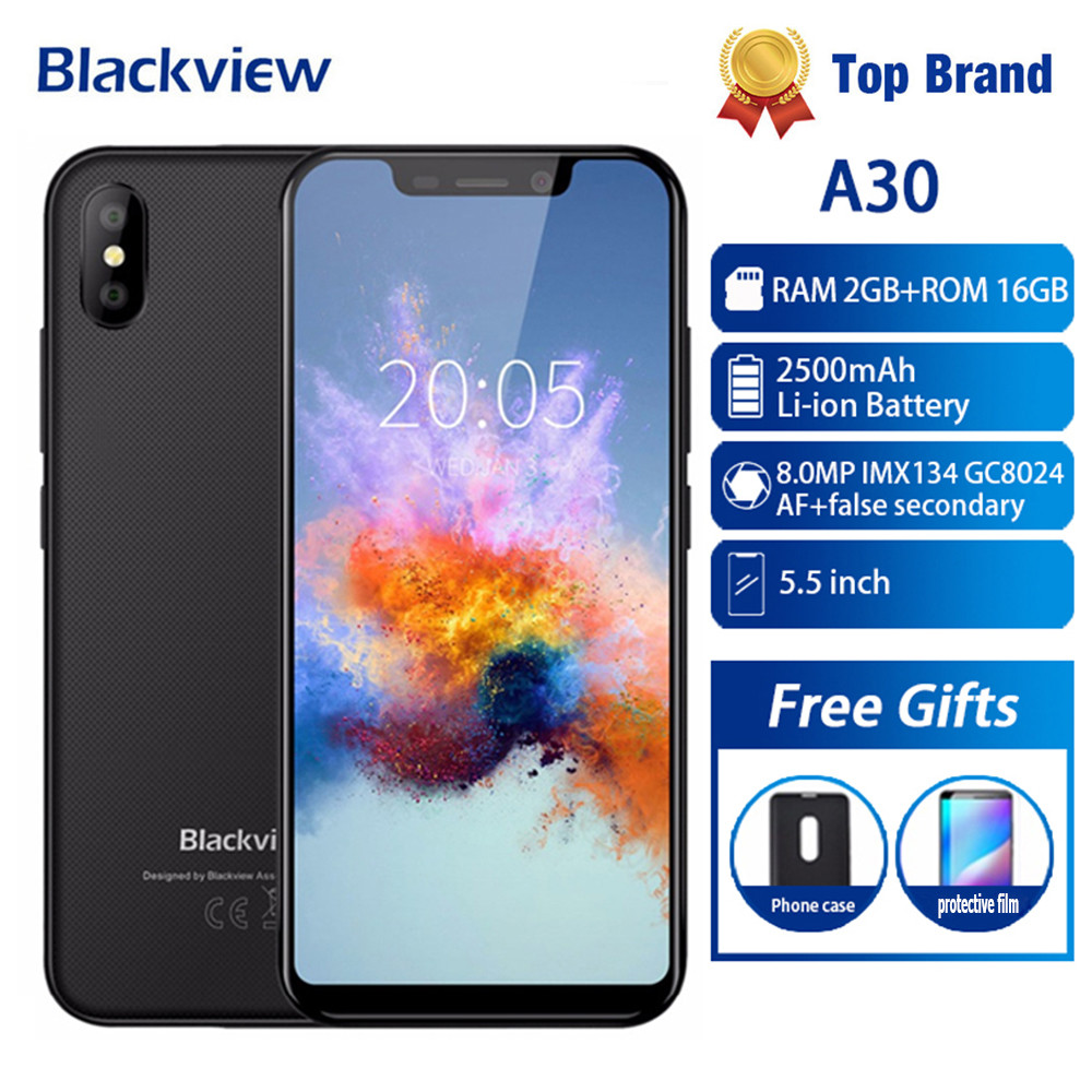 Blackview A30 Smartphone 5.5inch 19:9 Full Screen MTK6580A Quad Core 2GB+16GB Android 8.1 Dual SIM 3G Face ID 8MP Mobile Phone