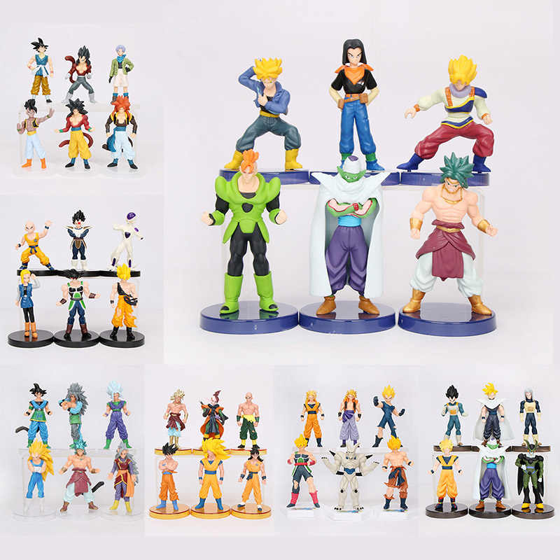 6 pçs/set Freeza Dragon Ball Son Goku Super Saiyans Celular Vegeta Gogeta Gotenks Killin Modelo PVC Action Figure Brinquedos Dragon Ball Z
