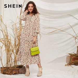 Image 4 - SHEIN Ditsy Floral Print Frill Trim Flared Dress Without Belt Women Autumn Long Sleeve High Waist Ladies Elegant Long Dresses
