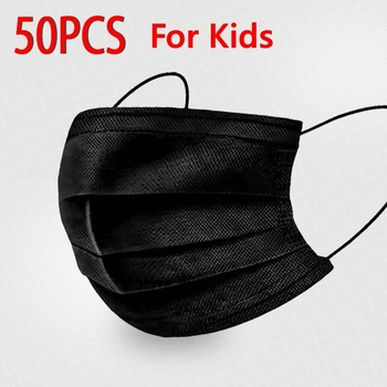 Black Pink Child Mask Disposable Protective Face Mask 3 Layer Nonwoven Anti-bacterial Dustproof Mouth Face Mask for Kids Health 17