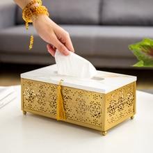 Caja de pañuelos de estilo chino, cajas de pañuelos de hierro con servilletas desechables, caja de servilletas de lujo, caja de mesa decorativa para el hogar para tejidos