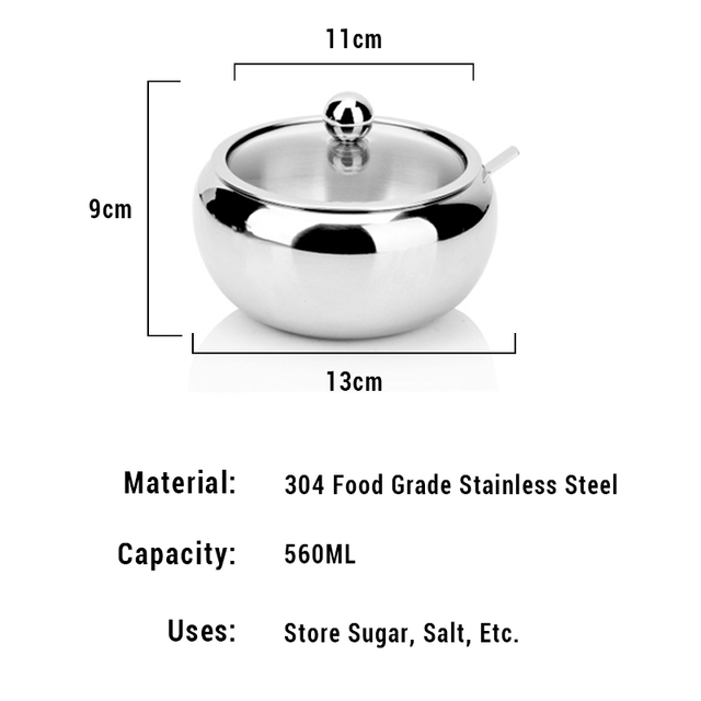 Portable Sugar Bowl With Lid And Spoon Kitchen Stainless Steel Sugar Box Container Cooking Sugar Salt Spice Jar Storage Bottle