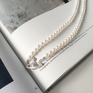 Shell Pearl choker Saturn Pearl Necklace Female Niche Light Luxury French Clavicle Chain 925 Sterling Silver necklace