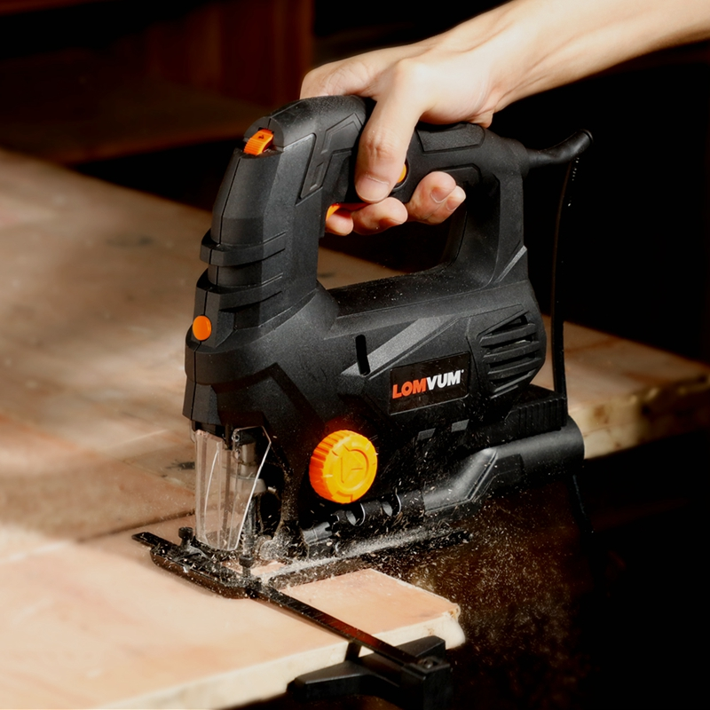Tools : LOMVUM Laser Jigsaw Power Tool Machine Electric Saw With Laser Guide Jig Saw For Metal Wood Steel Cutter Blades For Woodworking