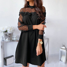 Mini Dress Splicing-Dresses Elegant Sexy 40 Casual O-Neck Lace Long-Sleeve Perspective