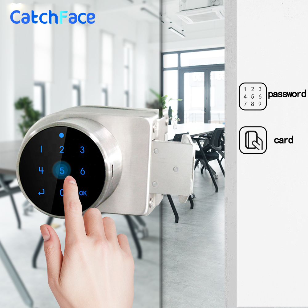 Password Smart Door Lock For Office Glass Door  Sliding Electronic Door Lock  Keyless Digital Electric Lock With Code RIFD Card