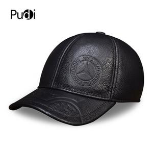 Image 1 - HL023 Spring genuine leather men baseball cap hat  high quality mens real leather adult solid adjustable snapback earsflap hats