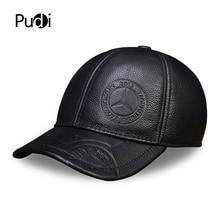 Hl023 boné de beisebol masculino, chapéu de couro genuíno de alta qualidade, para adulto, cor sólida, ajustável, com aba traseira
