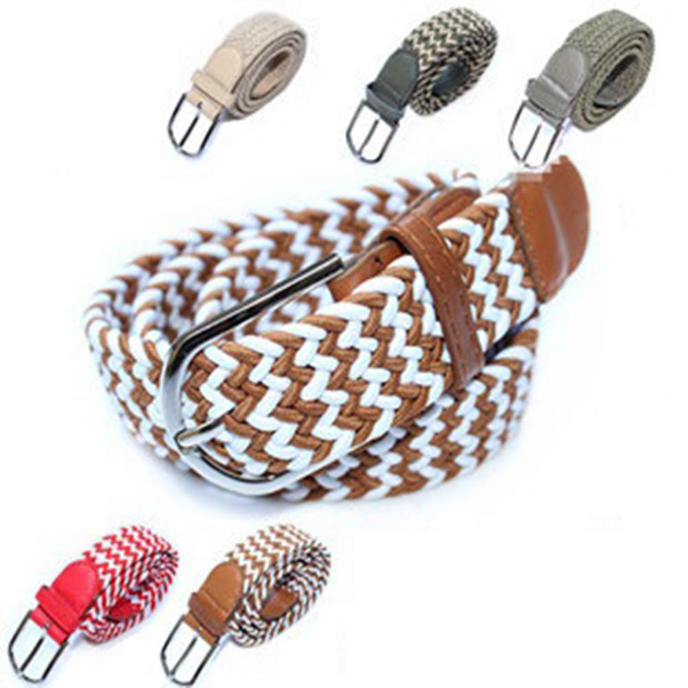 HobbyLane Mens Leather Braided Elastic Belt Unisex Wide Woven Stretch Pin Buckle Belts