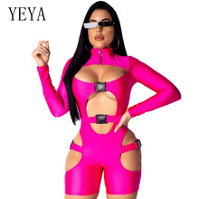 YEYA Sexy Hollow Out Long Sleeve Zip Front Unitard Skinny Solid Buckle Rompers Fashion Turtleneck Cut Out Club Party Overalls
