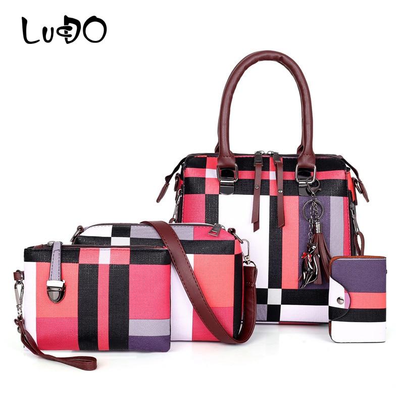 2019 New 4pcs/set Bag Women Purses And Handbags Women Tassel Plaid Shoulder Bag Wallets Purse Key Bag Set Female Bolsa Feminina