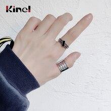 Kinel Trendy Classic 925 Silver Ring Vintage Geometric Woman Jewelry Letter Fine bijoux Original Design