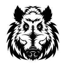 Furious personalidad de cabeza de jabalí salvaje, pegatinas decorativas de PVC, protector solar impermeable, negro/blanco, 26CM x 22CM