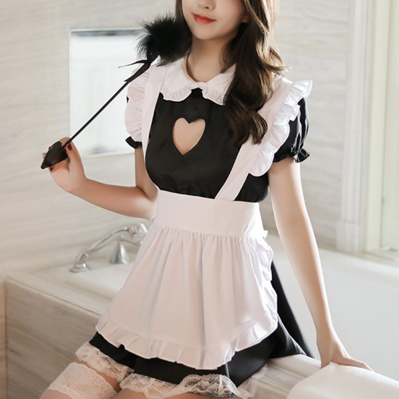 Hot Sale Hot Selling <font><b>Cosplay</b></font> Maid Lace Love Hollow <font><b>Sexy</b></font> Outfit <font><b>Cute</b></font> Maid Uniform Set Women <font><b>Sexy</b></font> Lingerie Set image