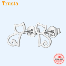 Trusta 100% 925 Sterling Silver Earring Fashion Cute Tiny Symmetry Cat Stud Earrings Gift For School Girls Daughter's Gift DS011