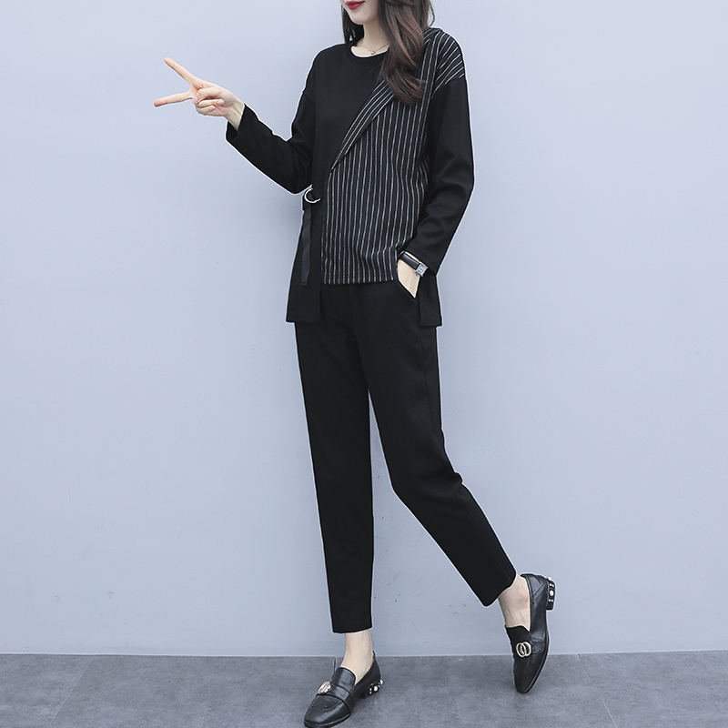 L-5xl 2019 Autum Black Two Piece Sets Outfits Women Plus Size Striped Splicing Tops And Pants Suits Elegant Office Casual Sets 27