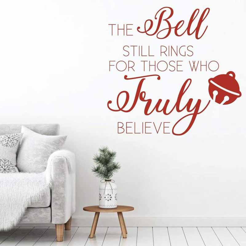 Christmas Wall Sticker The Bell Still Rings Quotes Vinyl Home Decor Living Room Decals Removable Murals Holiday Wallpaper 3706 in Wall Stickers from Home Garden