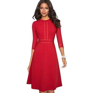 Image 4 - Платье Nice forever A135 женское винтажное с круглым воротником