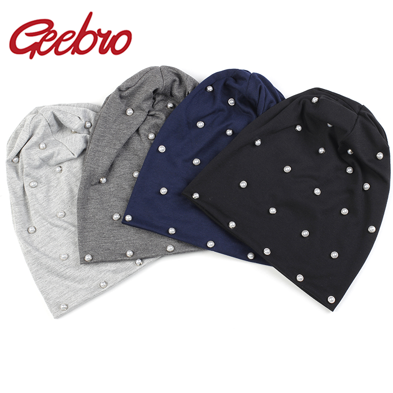 Geebro 2020 New Fashion Soft Women Pearls Beads Cotton Beanies Hat Caps Spring Slouch Polyester Stretch Baggy Hats Bonnet Femme
