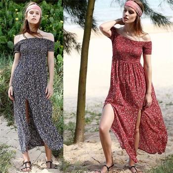 Sexy Strapless Split Print Maxi Dress Plus Size White Chiffon Long Summer Beach Dress Women Vestidos цена 2017